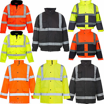 Hi Viz Vis Visibility Security Work Safety Bomber Jacket Waterproof Parka Coat