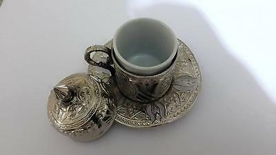 Traditional Turkish Antique Coffee Cup Saucer Set Porcelain Brass Silver Copper