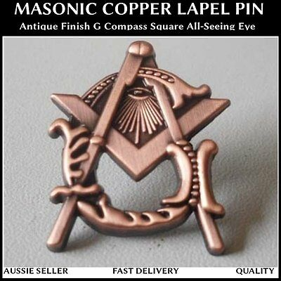 Masonic Copper Antique Finish Masonic Lapel Pin G Compass Square All-Seeing Eye