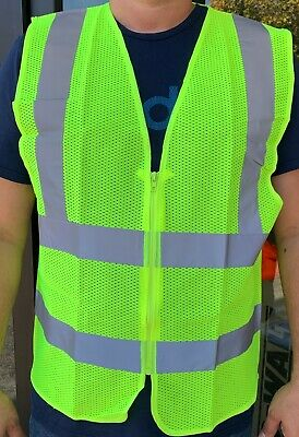 ANSI CLASS 2 High Visibility Safety Vest: Solid Lime Front/ Mesh Back