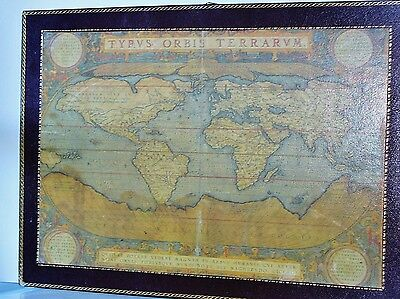 ORTELIUS ABRAHAM - Typvs Orbis Terrarvm- Genuine Leather Map Mounted wood Plaque