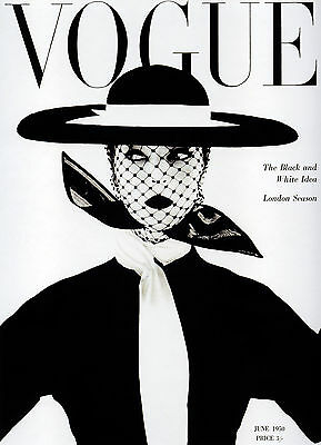a1 size frame large black white vogue fashion cover 1950 art poster vintage hat