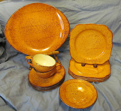 BLUE RIDGE Southern Potteries Hard to Find ORANGE SHERBET 14 Piece Lot