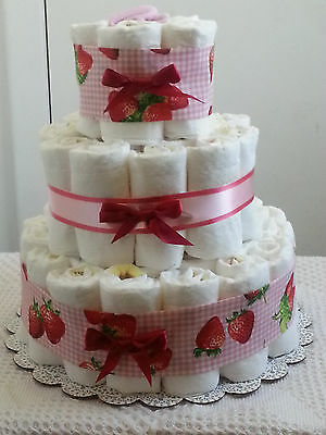3 Tier Strawberry Pink Gingham Diaper Cake Baby Shower Centerpiece Gift