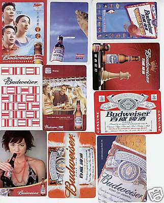 10 Different Single Playing Cards of Budweiser Ad.