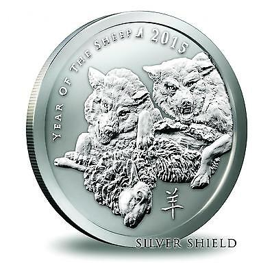 2015 Silver Shield Year Of The Sheep 2 oz .999 Silver Lunar Series BU Round Coin