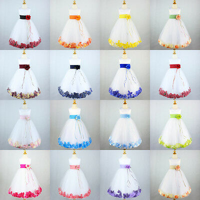WHITE Flower Girls Dresses Wedding Recital Graduation Bridesmaid Pageant Petal