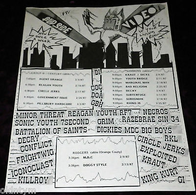 Rare 1987 Flipside Tv Video Flyer Punk On Cable Sonic Youth Minor Threat Mdc Kbd