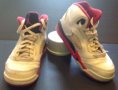 08fb16bacfd598 Nike Air Jordan Shoes Child 1.5Y V5 Retro White Fire Red Black Tongue
