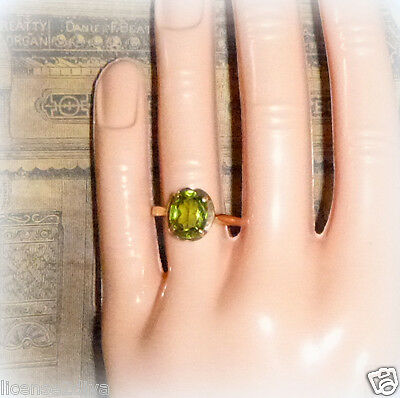 10K Gold Peridot Vintage Ring! Art Deco Of Late 40's! Size Almost 7.5! Oval Cut!