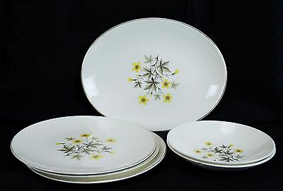 """Lot of 3 10"""" Plates 2 7 1/2"""" Bowls & 12 1/2"""" Oval Serving Knowles Sunlight X-501"""