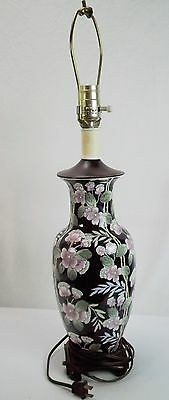 Vintage Asian Flower Bamboo Design Painted Urn Style Table Lamp Pink Blue White