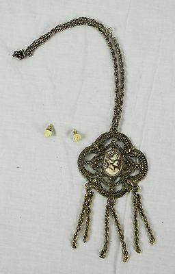 Lot of Vintage Brass Necklace Large Cameo Style Pendant & Bakelite Rose Earrings