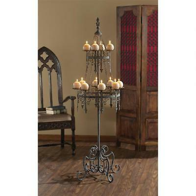 5ft MEDIEVAL CASTLE FLOOR CANDELABRA HOLD 12 CANDLE Finial Crown Goth Light Art