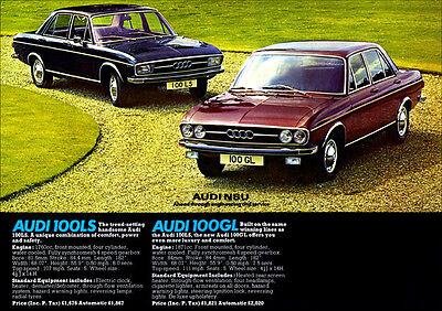Audi 100 Ls & 100 Gl Retro A3 Poster From Classic 70's Advert