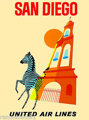 San Diego Zoo Zebra Caifornia United States Vintge Travel Advertisement Poster