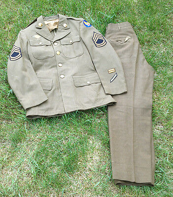 WWII US Airforce USAF Wool Tunic/Jacket & Pants Set w/ Insignia 35R