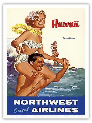 Northwest Orient Airlines HAWAII Surf 1960s Vintage Travel Poster Print