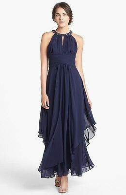 63a141573a5a ELIZA J Embellished Tiered Chiffon Halter Gown MOTHER OF THE BRIDE WEDDING  NAVY