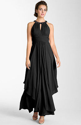 e6cdfdcbebfd ELIZA J Embellished Tiered Chiffon Halter Gown MOTHER OF BRIDE WEDDING BLACK