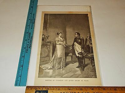 Rare Antique Original VTG Meeting of Napoleon & Queen Louise at Tilsit Art Print