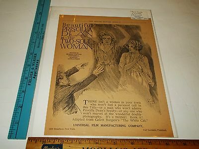 Rare Original VTG 1918 Two Soul Woman Silent Movie Advertising Art Print