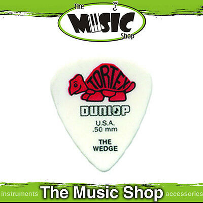 "72 x Dunlop Tortex ""The Wedge"" Guitar Picks - .50mm White & Red Plectrum - New"