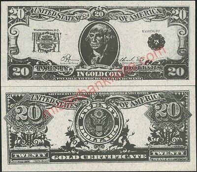 $20 Gold Note George Washington Hollywood Movie Prop Money Bill!