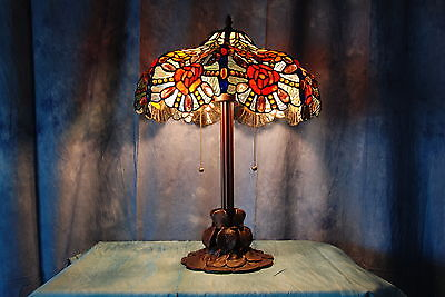 Elegant Tiffany Style Table Lamp with Scalloped Shade