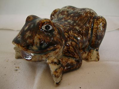 Decorative Brown Blue Gray Decor Garden Home Frog Ceramic Figurines Happy