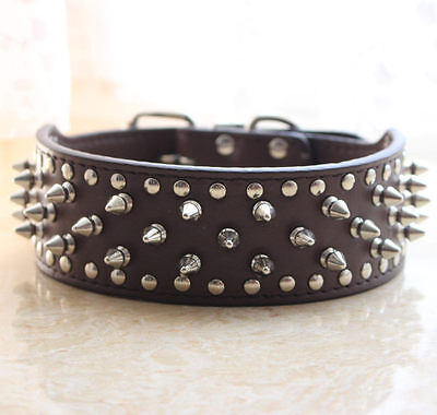 """2"""" Wide Leather Spiked Studded Dog Collar Pitbull Bully Terrier Size S M L XL"""