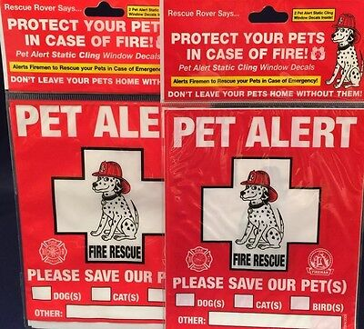 "New ""RESCUE ROVER"" Pet Alert  Decals 2- 2 PACKS 4 Static Cling Stickers Total"