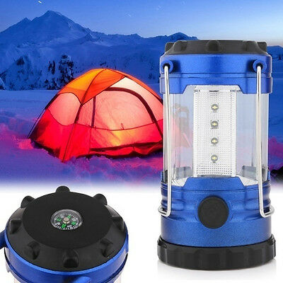 12 LED Camping Outdoor Light Battery Tent Hiking Lamp Lantern with Compass New