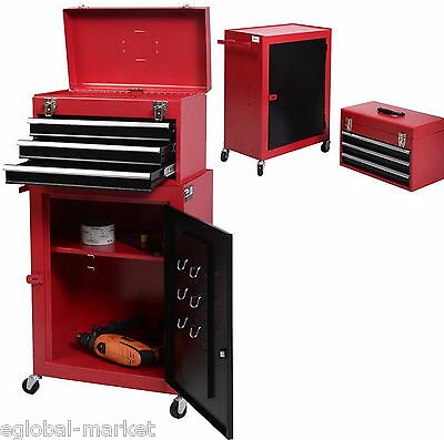 Tool Box Chest Lockable Storage Trolley Cabinet Garage Mechanic 5 Drawer RED