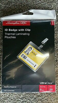 Swingline UltraClear Thermal Laminating Pouches, Badge/ID Card Size With Clip