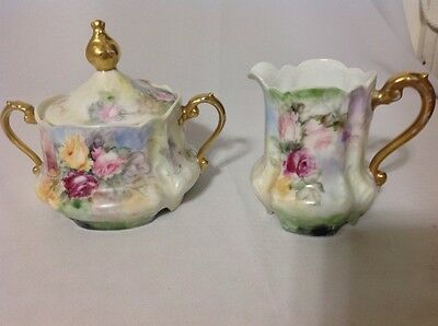 Antique Cream and Sugar by Z S & Co, Bavaria; Beautifupl Floral c 1880-1918