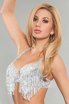 Women's silver Blinged Out Beaded Bra Top with Fringes EDC Rave EDM Festival