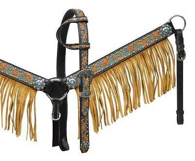 Showman Black  headstall and breast collar with turquoise inlay and tan fringe!