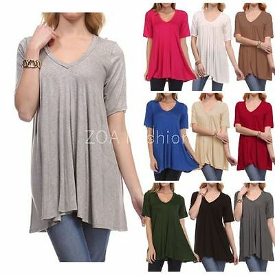 USA Women's V-Neck A-Line Tunic Short Sleeve Loose Top T-Shirt Plus Rayon Span