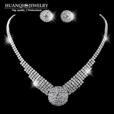 Bridal Silver Crystal Diamante Rhinestone Choker Necklace Earrings Jewellery Set