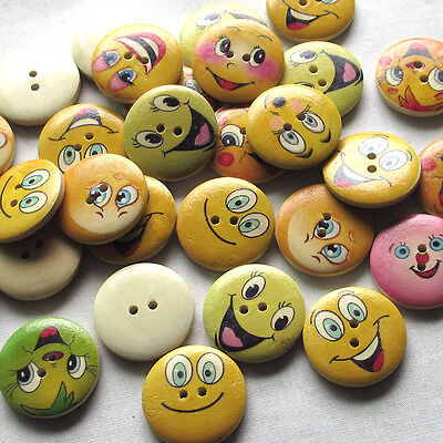 Upick 10/50/100pcs Grimace Wood Buttons 25mm Sewing Craft 2 Holes Wholesales