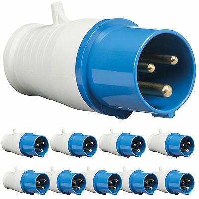 10 x 16 amp 3 pin plugs IP44 2P+E 240V single phase camper caravan plug blue 16A