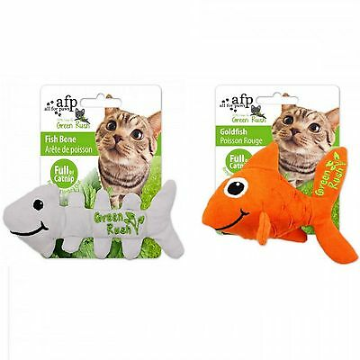 All For Paws AFP Green Rush Cat Kitten Durable Catnip Toy Goldfish Fish Bones