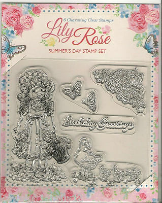 6x CHARMING LILY ROSE CLEAR RUBBER STAMP SET~CRAFT~CARDS~NEW~SCRAPBOOKING~ART~