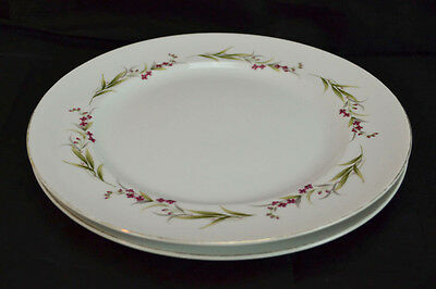 "Lot of 2 Vintage Prestige Fine China 10 1/2"" Dinner Plates Made In Japan Silver"