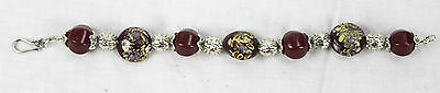 """Vintage Silver Tone Metal & Hand Painted Red Glass Bead Bracelet  9"""" Long Chunky"""