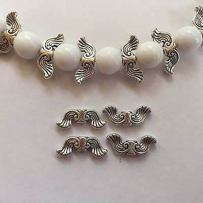 30 p Quality Elegant Antique Silver Tone Metal 20X8mm Angel Wing or Spacer Beads