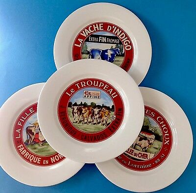 Restoration Hardware Classic French Cheese Plates Set 4 Cows Advertising