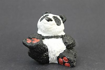 Vintage Signed Don James Hand Painted Cast Stone Collectible Panda Bear Figurine