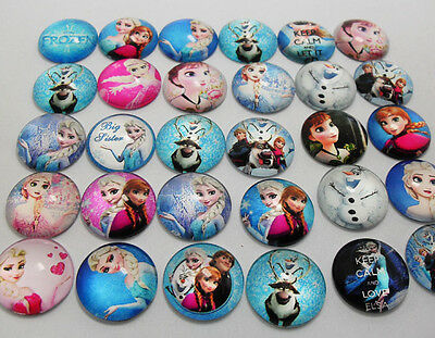 15pcs Frozen Resin Cabochons Flatback Dome 20MM Child DIY Kawaii Crafts setting
